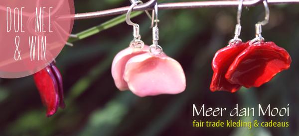 Win, Facebook, I love eco blog, Meer dan mooi, rozenblaadjes, oorbellen, rozen oorbellen