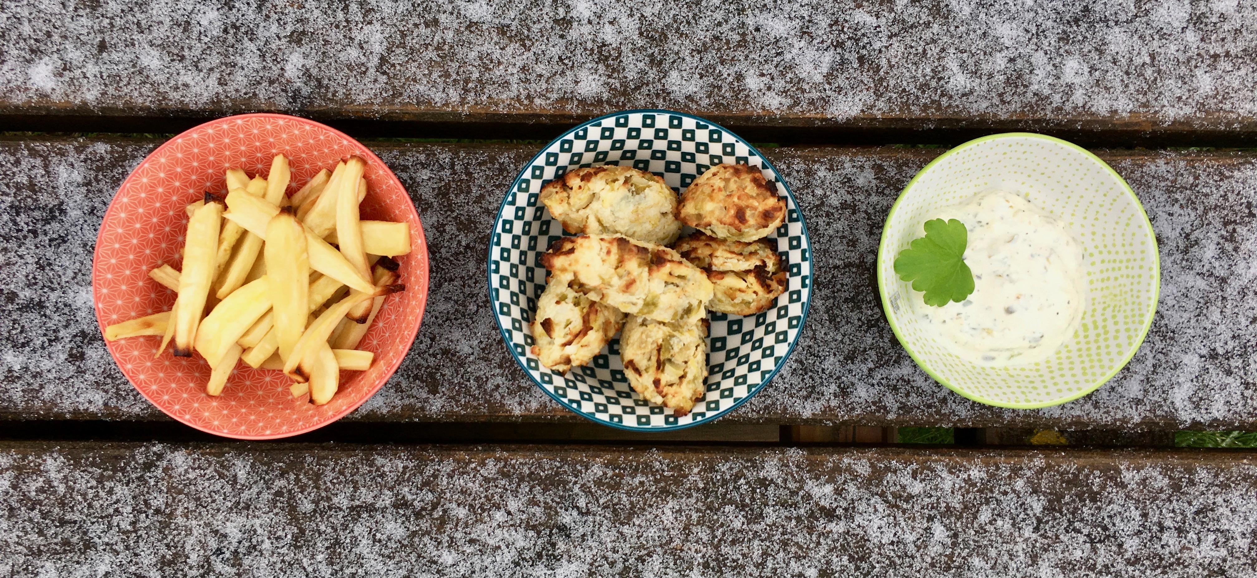 Fish & chips van spruiten en pastinaak