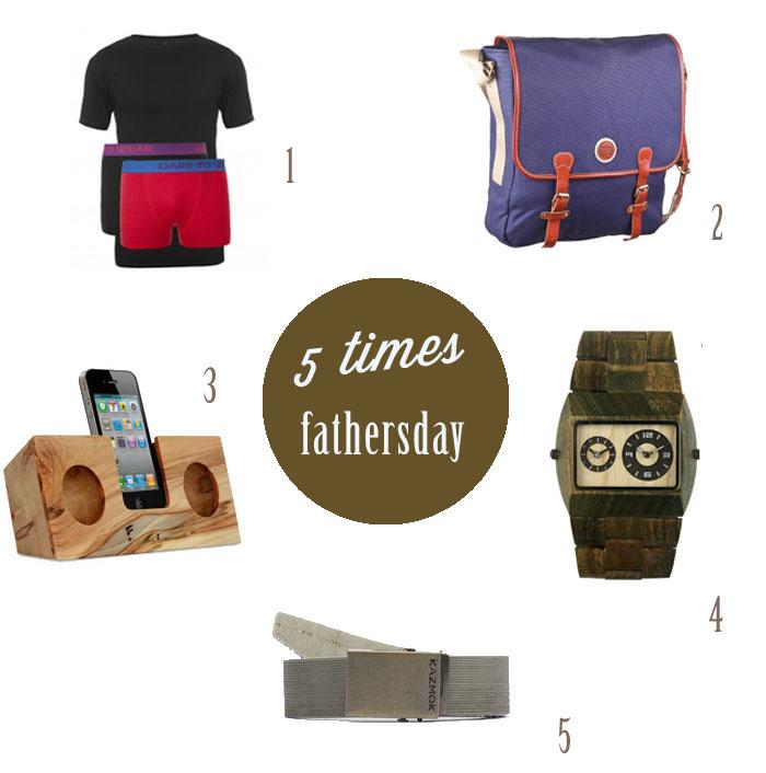 Vaderdag Cadeau: 5 duurzame tips! 1. Bamboe Combi-set - Greendady | 2. Satchel bag - Knowledge Cotton Apparel | 3. Ambrosia Maple Original - Koostik | 4. Jupiter Army - WeWOOD | 5. The Conveyor Belt - Kazmok