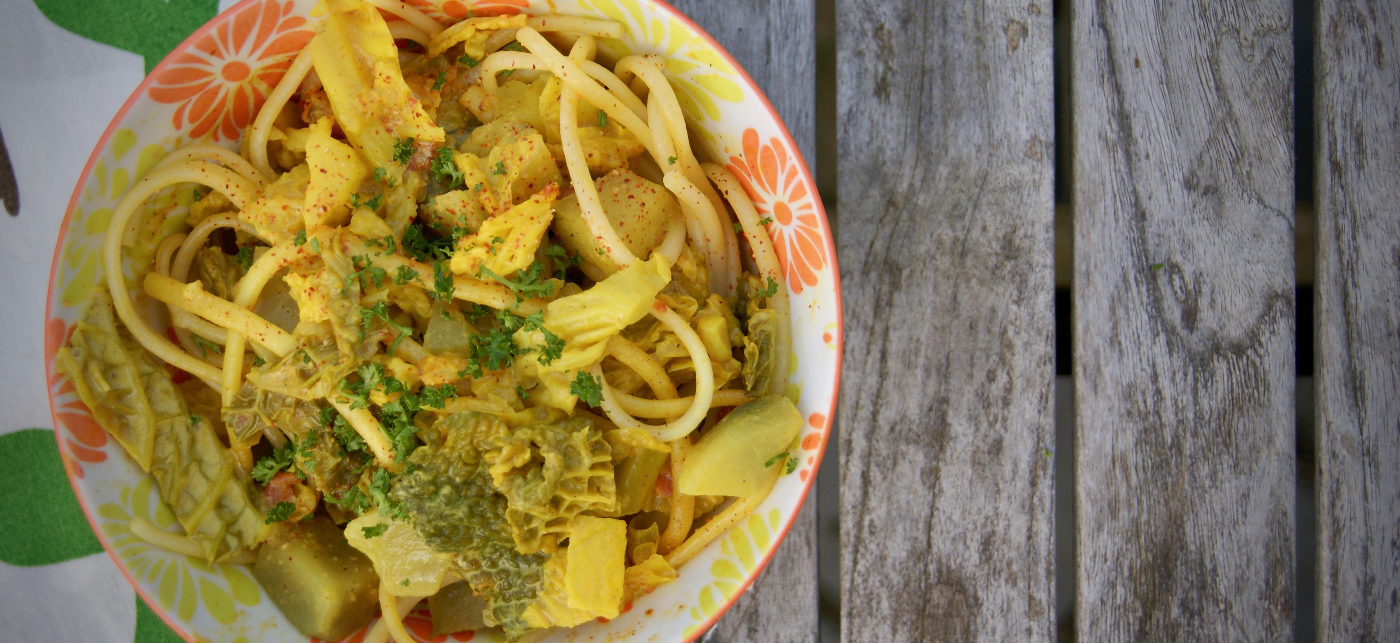 Recept: pasta met groene kool en yacon