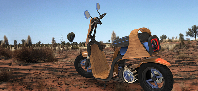 The EcoMoto Bamboo Scooter